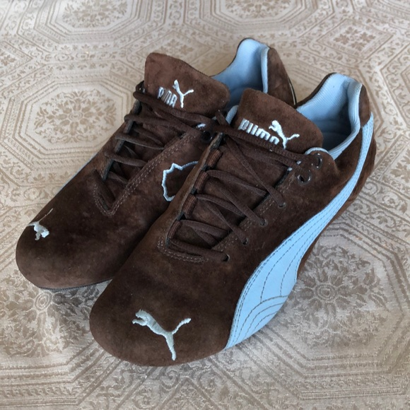 Brown and baby blue Puma sneakers